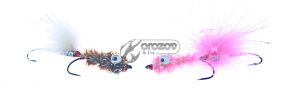 стримери SPRO Minnow Tandem Pink/Rainbow + Rusty Brown/Rainbow